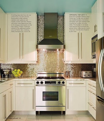 Penny tiled kitchen backsplash