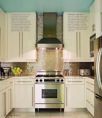 Penny tiled kitchen backsplash