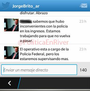 Jorge Brito, Mensaje Directo, Twitter, Operativo de Seguridad, River, River Plate, 2014,