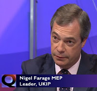 Nigel Farage - Question Time BBC1 Thursday May 26th