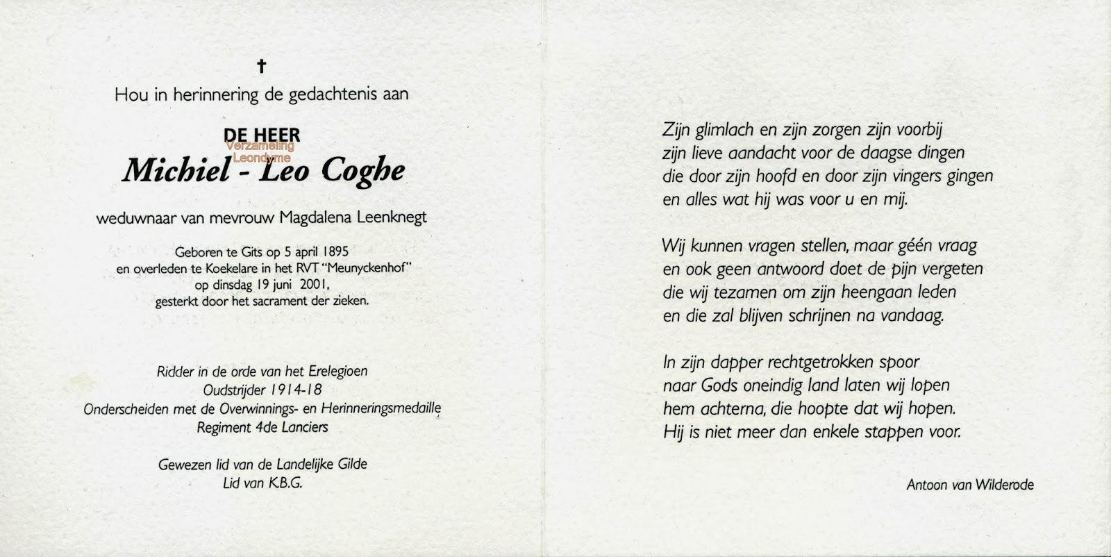 Bidprentje, Michiel-Leo Coghe. Verzameling Leondyme