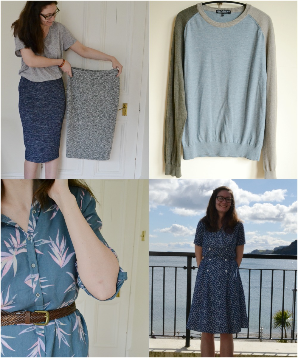 palm tree print shirt dress M&S jersey skirts colour block sweater jumper vintage floral dress
