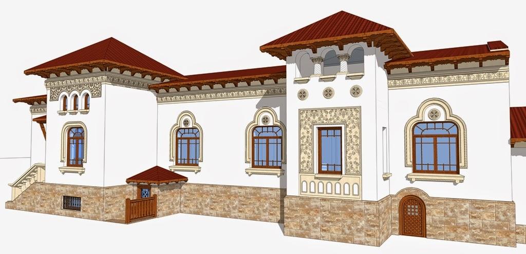 Casa Neoromanesca cu  Fatada realizata cu profile decorative polistiren