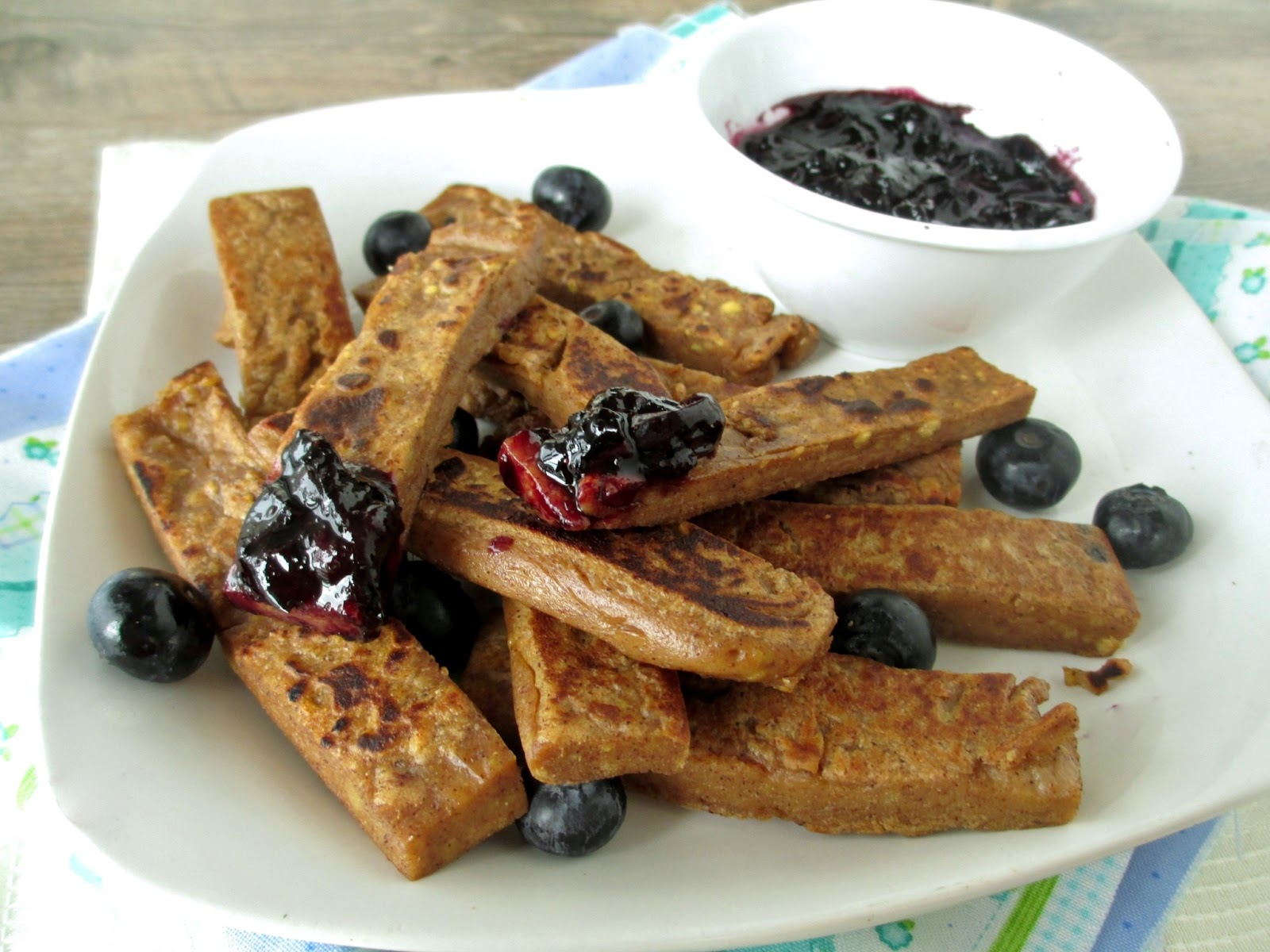 Vanilla & Spice: Breakfast Chickpea Fries with Blueberry Sauce