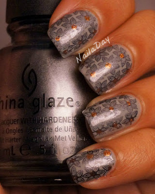 NailaDay: Sally Hansen Wet Cement with China Glaze Awaken Stamp