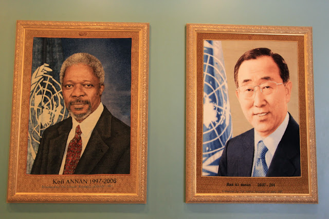 The past aThe past and current Secretary-General of the United Nations Security Council: Kofi Annan and Ban Ki-Moon at United Nations Headquarter in New York, USA