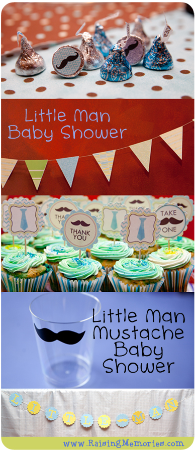 Throw a Moustache themed baby shower www.RaisingMemories.com