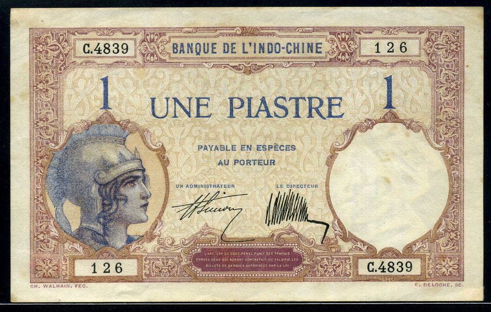 French Indochinese Piastre Piastre De Commerce Banknote
