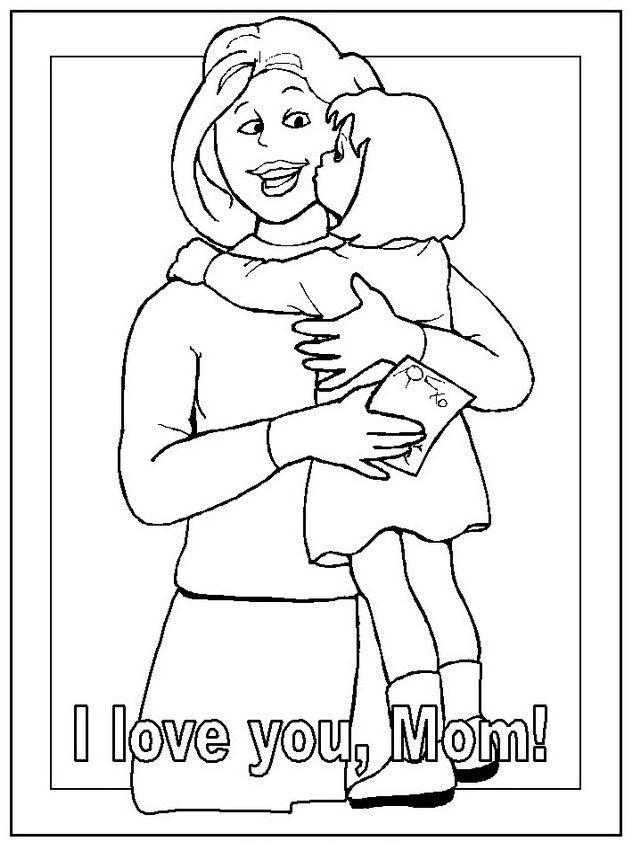 Daughter hugging mom coloring color area for Father and daughter coloring pages