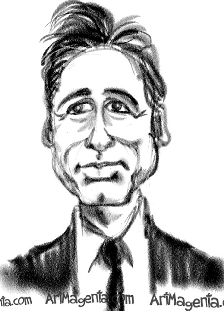 David Duchovny caricature cartoon. Portrait drawing by caricaturist Artmagenta.