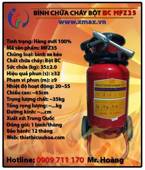 Bình chữa cháy bột BC MFZ35 35kg loại có xe đẩy