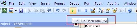 Run VBA project Excel