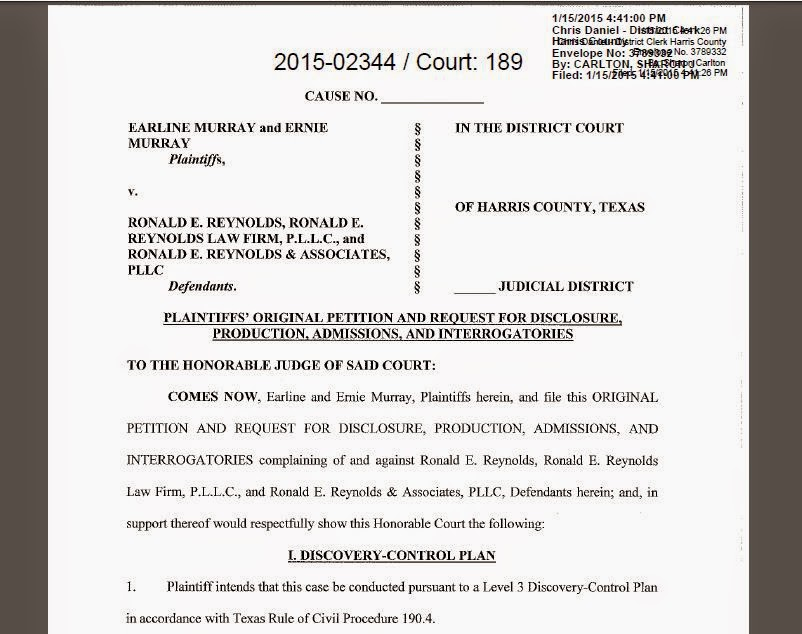 Earline Murry vs Ronald E Reynold, Cause No. 2015-02344 in Harris County District Court (Houston)