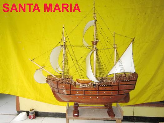 miniatur kapal klasik, miniatur kapal layar santa maria, miniatur kapal laut