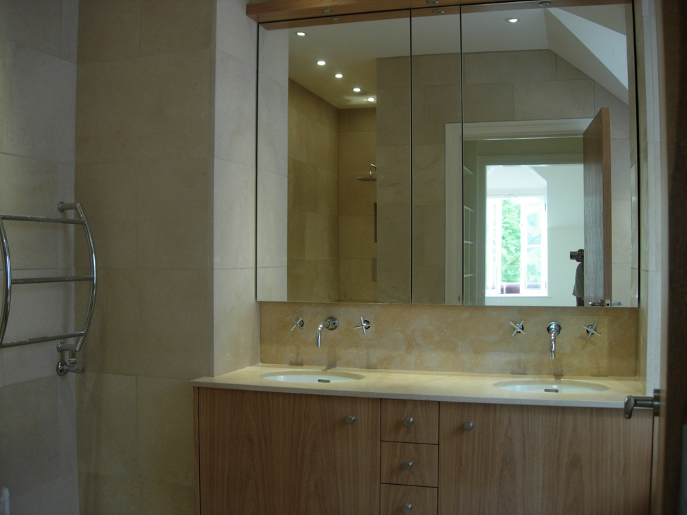 Lovely Double vanity top splashback Walls floor and walk in shower in Jerusalem stone