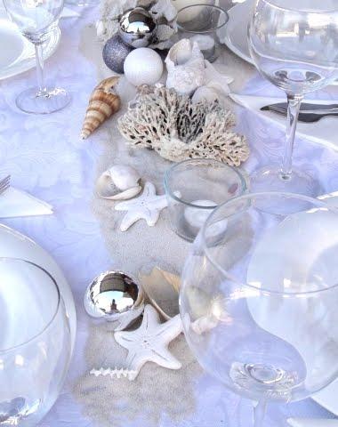 beach theme Christmas table with salt dough ornaments