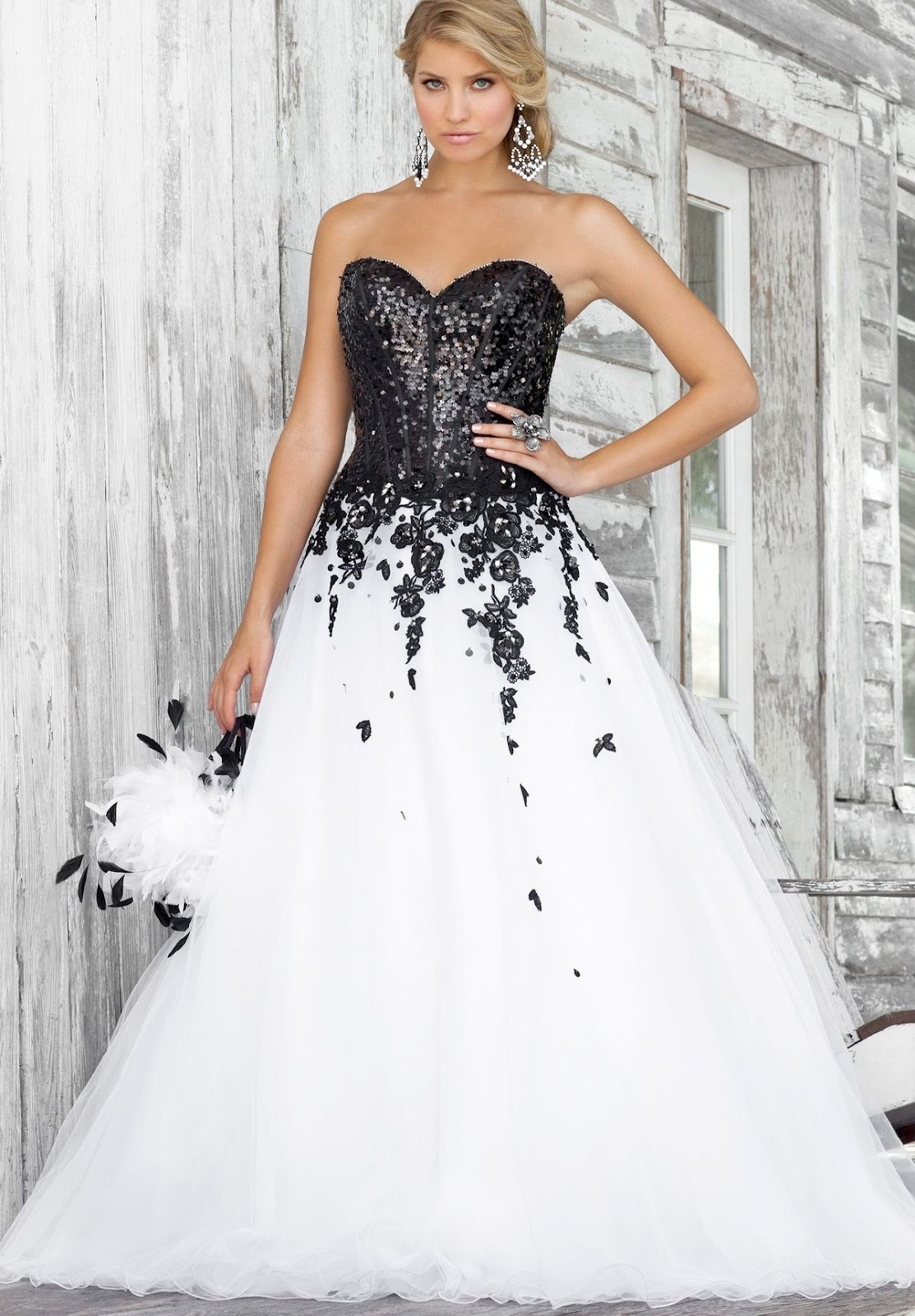 Black and White Ball Gown Prom Dresses