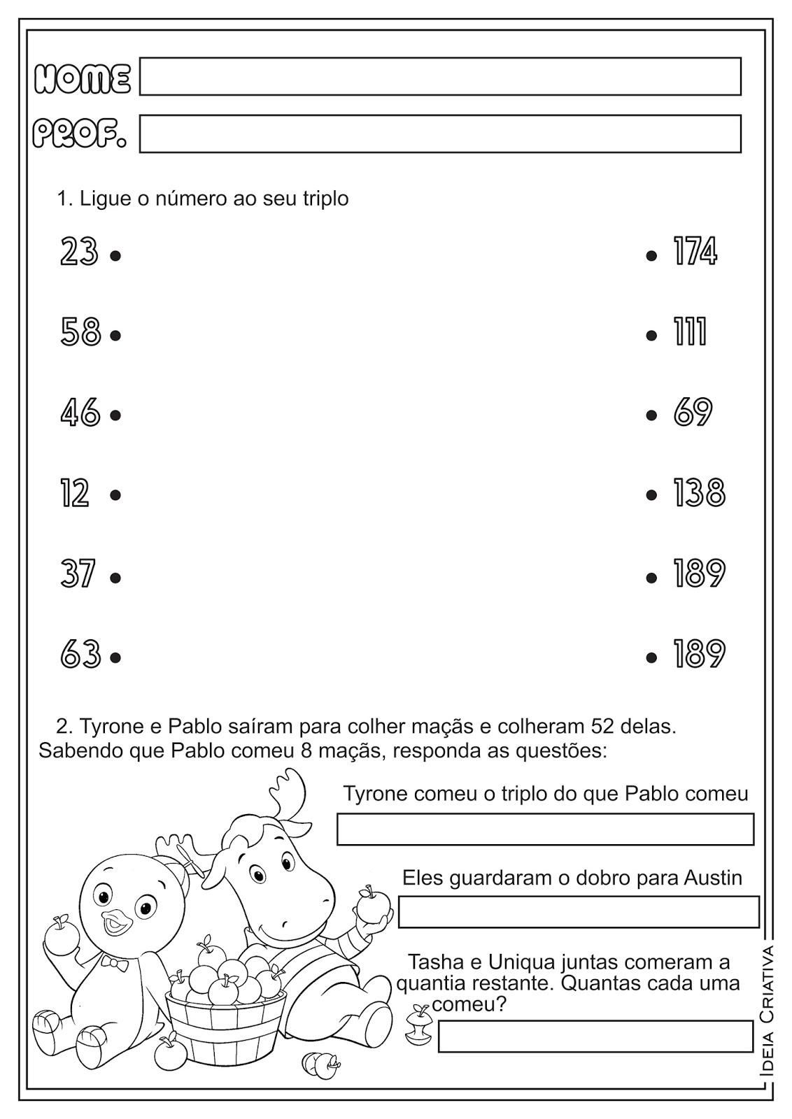 Atividades Metade Dobro e Triplo Matemática para Ensino Fundamental