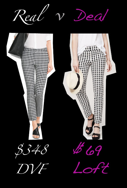 Real versus Deal featuring gingham pants from DVF and Loft
