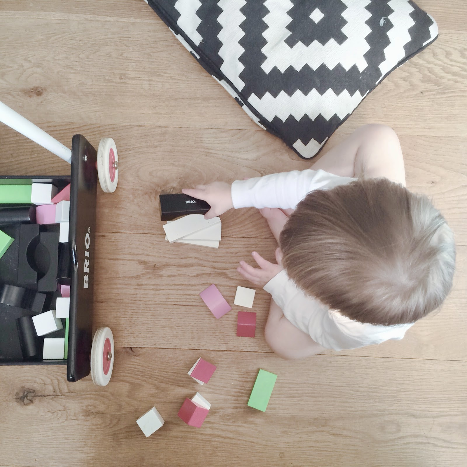 Ayden playing with his favourite Brio blocks