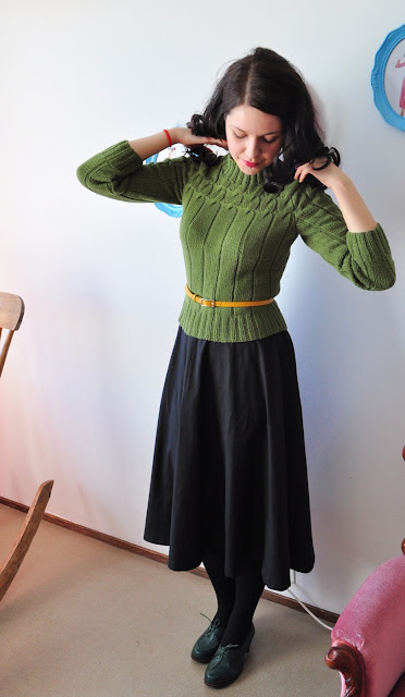 50s green repro knitted sweater by Cherise