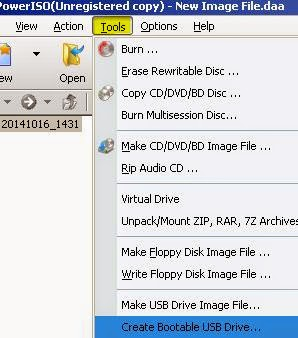 Power iso create bootable usb drive