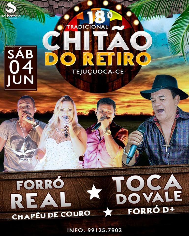 CHITÃO DO RETIRO 2016, SÁBADO DIA 04 DE JUNHO, IMPERDÍVEL!!!