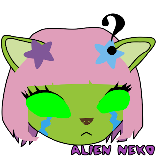 Sad - respond! Alien Neko Emoji