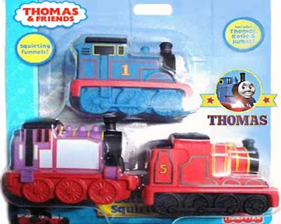 Waterworld playtime Thomas the Tank Train Engine and Friends James and Rosie pool bathtub squirters