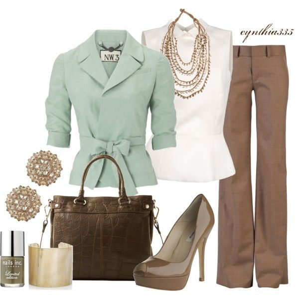 Light mint blazer, white sleeveless shirt, pants, hand bag and high heel sandals for ladies
