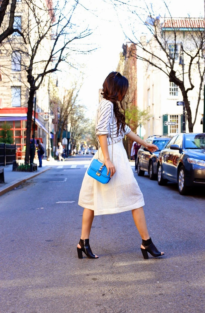 spring trend, culottes, on sale, chicwish culottes, dolce vita, dolce vita leka peep toe booties, valentino lock bag, stripe shirt, kendra scott rachel double ring, fashion blog, new york fashion blog