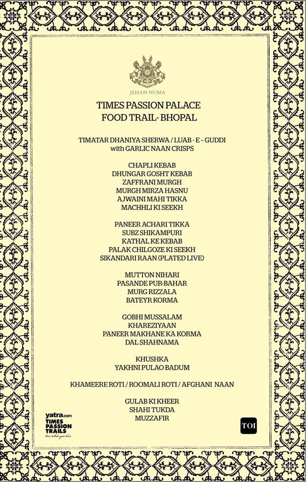 Times passion trails royal cuisine of bhopal and the for Awadhi cuisine menu