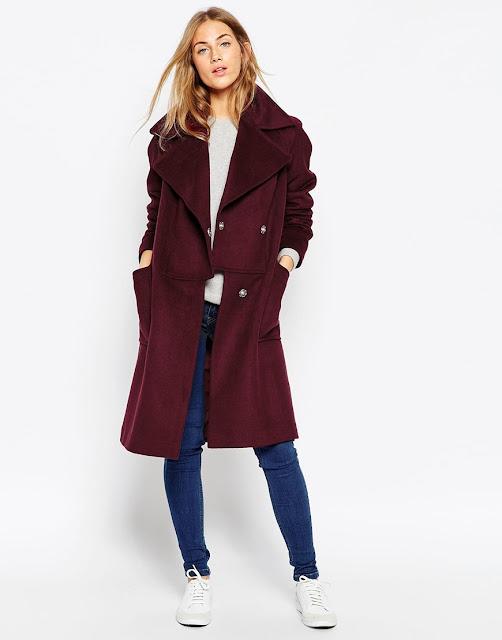 burgundy wool coat, oversized burgundy coat,