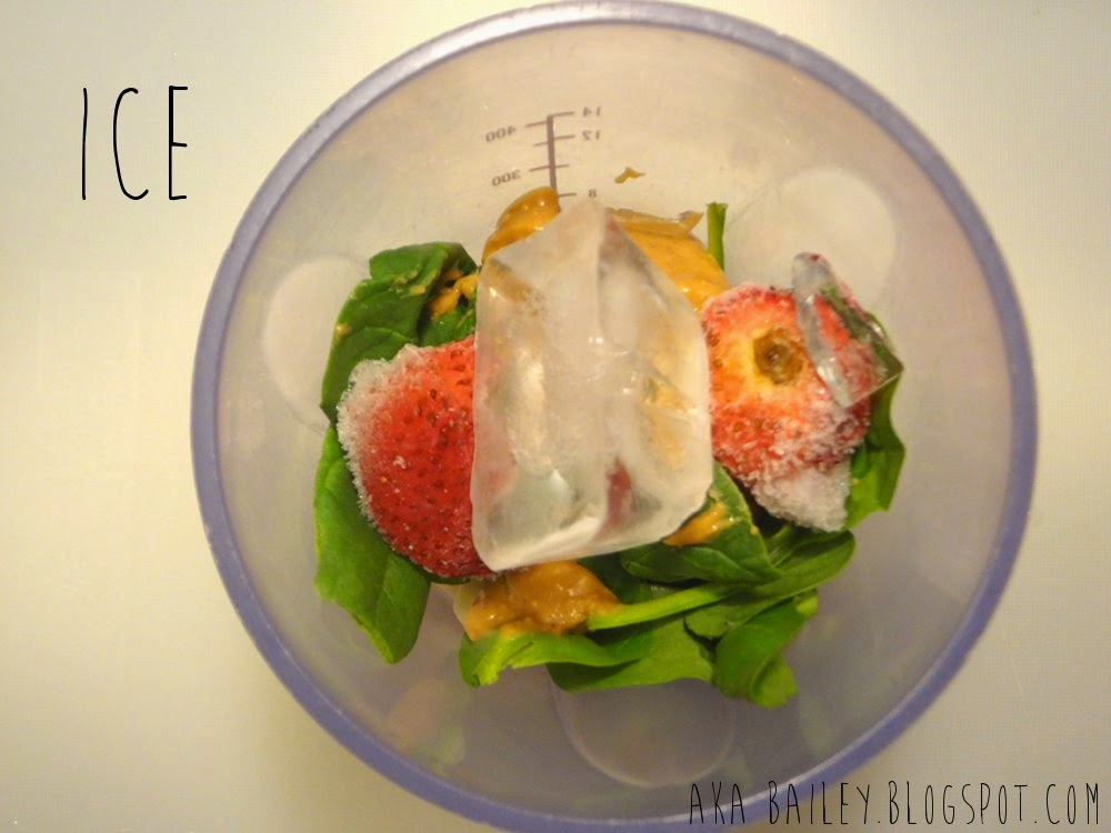 Add some ice cubes into the blender to make your smoothie chilled and icy!
