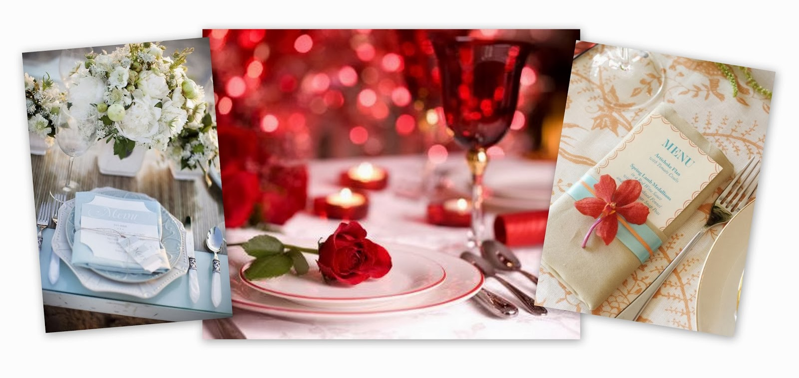 Table Setting, Dinner Menu, Romantic, Placecards