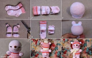 Osito de calcetin - Hacer munecos con calcetines ...