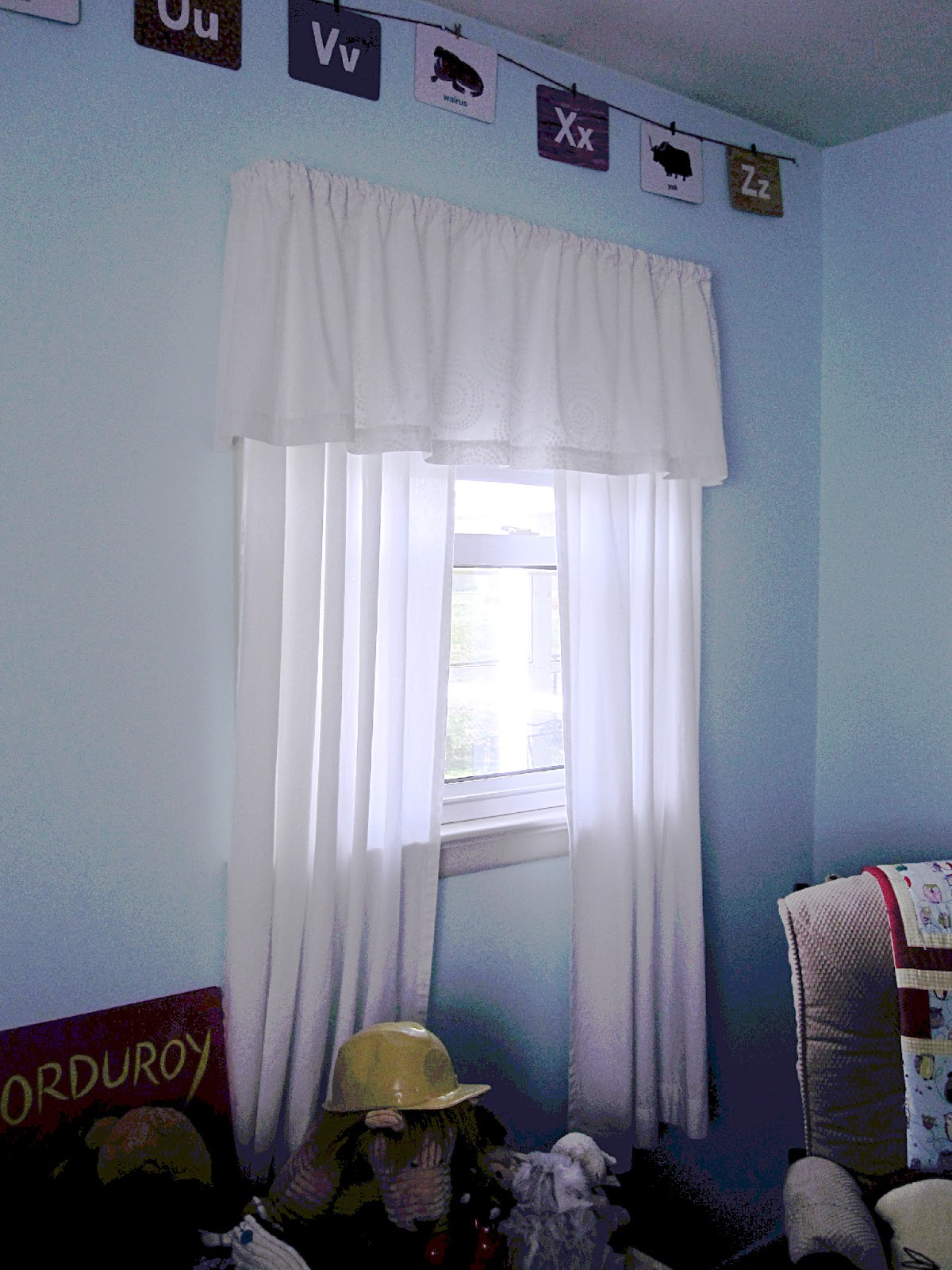 The window treatments in our little guyu0027s room looked like this. & tdb: fabric covered roller shade
