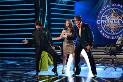 Shahid Kapoor & actress Ileana D'cruz on sets of KBC to promote PPNH