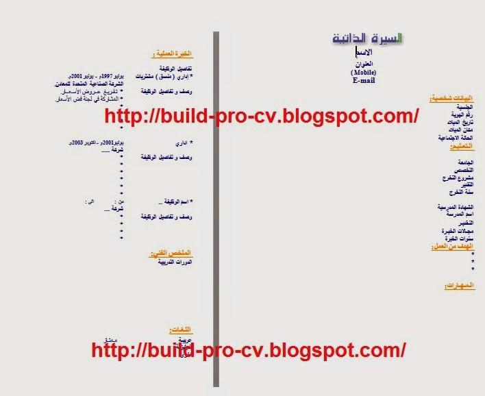 نموذج السيرة الذاتية Doc بالعربية كتابة السيرة الذاتية Cv باحتراف