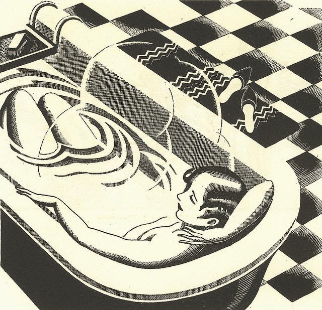 black and white woodcut by Charles W.Hobson of a woman in a bathtub
