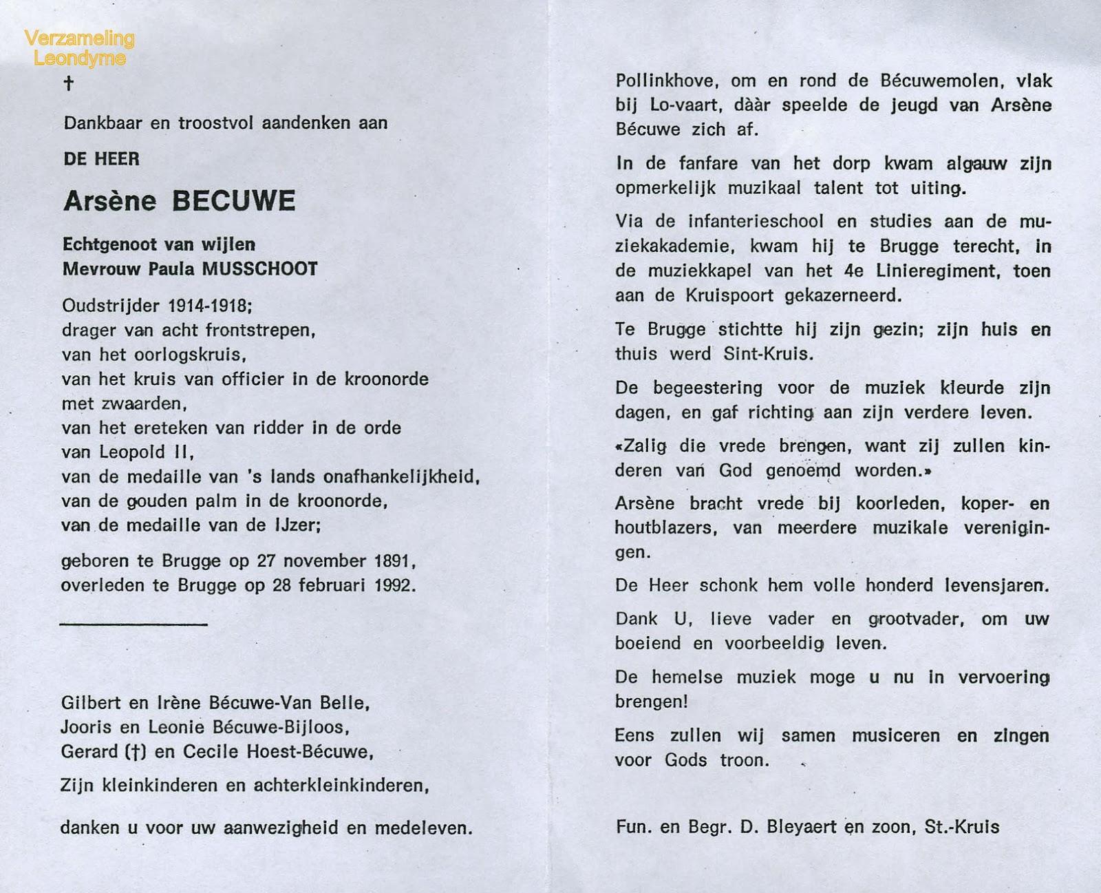 Bidprentje van Oud-strijder Arsène Becuwe-Joseph 1891-1992. Verzameling Leondyme