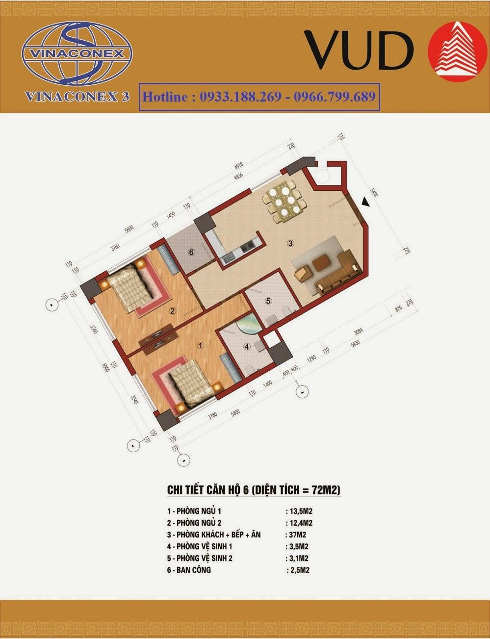 Diện tích 72m2, Chung cư CT1 Trung Văn - Vinaconex3