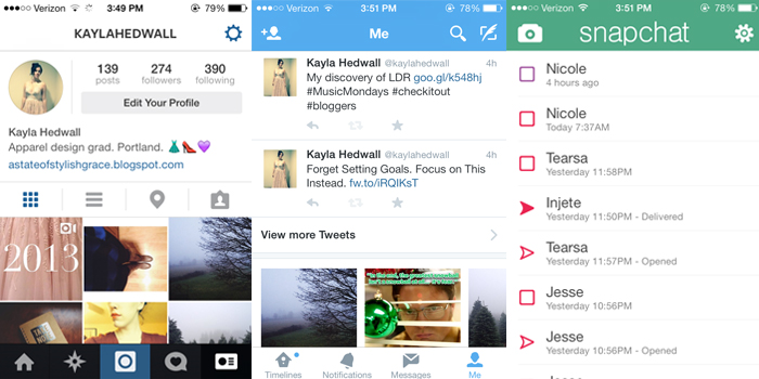 iPhone screenshots of Instagram, Twitter, Snapchat