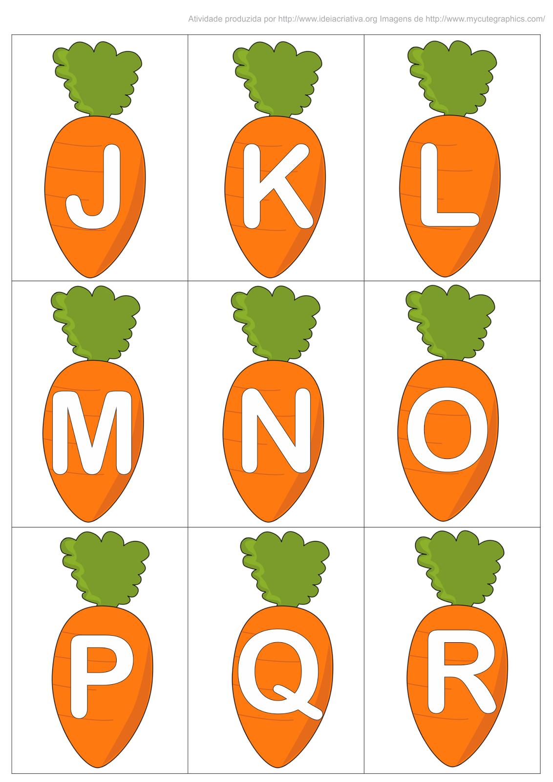 alfabeto imprimir cenourinhas