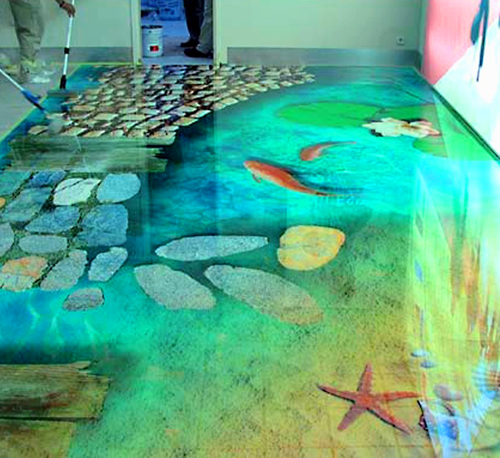 Home design beautiful floor design for Bathroom floor mural