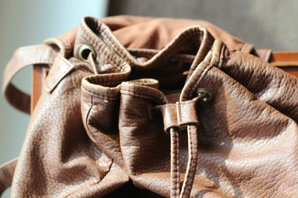 Tan backpack, gold zips, pockets, slouchy, primark, casual