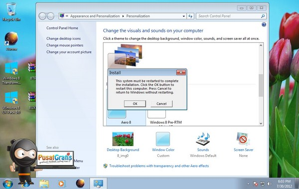proses instal windows 8 ux Pack 6.5