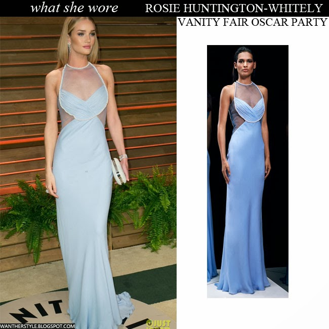 Rosie Huntington-Whiteley in light blue sheer dress by Cushnie et Ochs Oscars Party Red Carpet Want Her Style