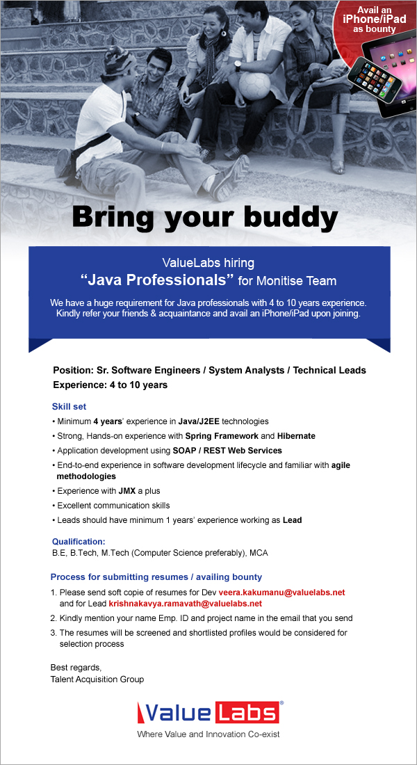 Software Jobs: Value Labs - Buddy Referral Program for Java Resource