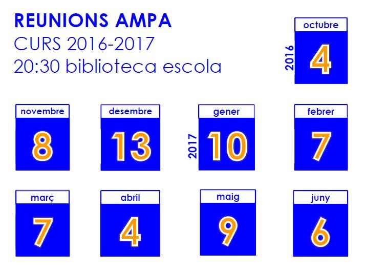 Calendari reunions AMPA 2016-2017